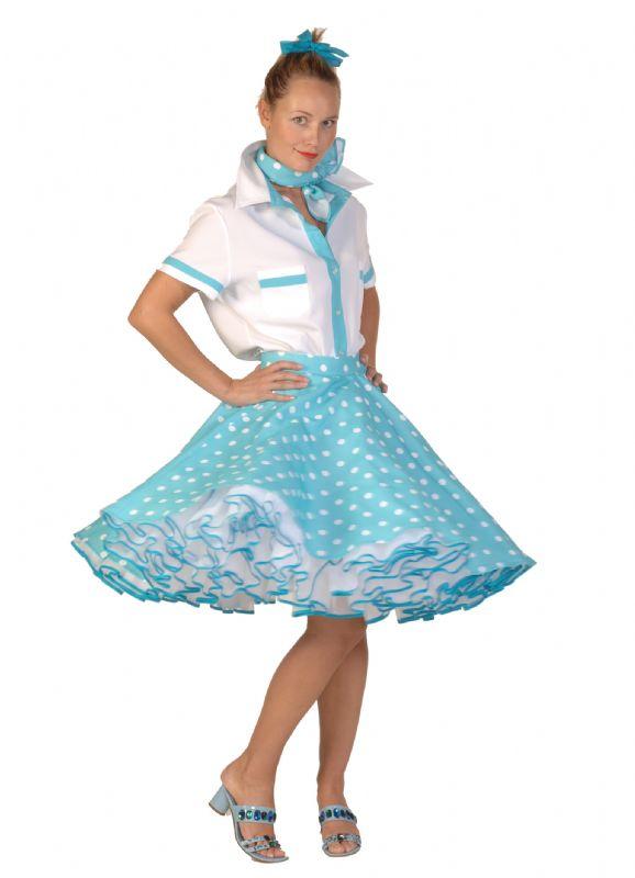 2deb191e002998 verhuur - carnaval - sixties and seventies - Kinderen - Rock en Roll dame  blauw